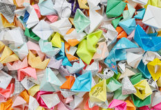 Origami ships. (paper boat) background Royalty Free Stock Images