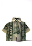 Origami Shirt/Tie. Origami shirt and tie made from an American one dollar bill Stock Images