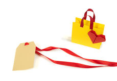 Origami shopping bag and label Stock Images