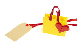 Origami shopping bag and label Royalty Free Stock Photos