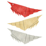 Origami shrimp recycled papercraft Stock Images