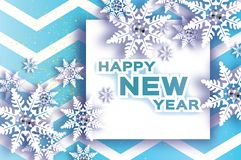 Origami Snowfall. Diamond. Crystal Happy New Year Greetings card. Brilliant Merry Christmas. Paper cut snow flake Royalty Free Stock Image