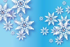 Origami Snowfall with diamond. Crystal Happy New Year Greetings card. Brilliant Merry Christmas. White Paper cut snow Royalty Free Stock Image