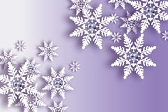Origami Snowfall with diamond. Crystal Happy New Year Greetings card. Brilliant Merry Christmas. White Paper cut snow Royalty Free Stock Images