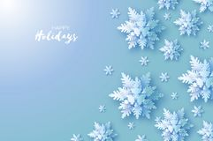 Origami Snowfall. Merry Christmas Greetings card. White Paper cut snow flake. Happy New Year. Winter snowflakes. Background. Space for text. Holidays. Blue Stock Image