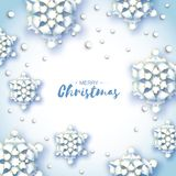 Origami Snowfall. Merry Christmas Greetings card. White Paper cut snow flake. Happy New Year. Winter snowflakes. Background. Space for text. Holidays. White Royalty Free Stock Photography