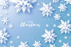 Origami Snowfall. Merry Christmas Greetings card. White Paper cut snow flake. Happy New Year. Winter snowflakes. Background. Space for text. Holidays. Blue Royalty Free Stock Photo