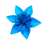 Origami snowflake. Blue origami unit snowflake isolated on white background Royalty Free Stock Photo