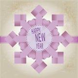 Origami snowflake med lycklig text för nytt år Royaltyfri Fotografi