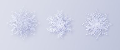 Origami snowflakes. 3D snowflakes with a shadow for your design of greeting cards for New Year and Christmas. 3D snowflakes with a shadow for your design of vector illustration