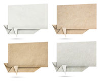 Origami speech banners paper texture. On white background (Save Paths for design work Royalty Free Stock Photo