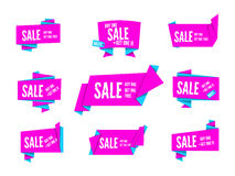 Origami speech bubble. Colorful pink vector origami paper speech bubbles collection. Set of flat ribbon banner, label and tag for design and presentation Royalty Free Stock Image