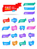 Origami speech bubble. Colorful vector origami paper speech bubbles collection. Set of flat ribbon banner, label and tag Stock Photos