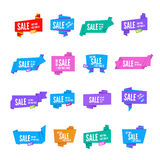 Origami speech bubble. Colorful vector origami paper speech bubbles collection. Set of flat ribbon banner paper Royalty Free Stock Image