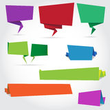 Origami speech bubbles and banners. Vector colourful paper speech bubbles and banners for your design Stock Photography
