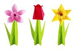Origami flowers set stock photography