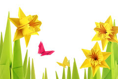 Origami spring narcissus bottom Royalty Free Stock Photos