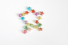 Origami star. Colourful origami stars in shape of star Royalty Free Stock Image