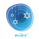 Origami Star of David. Happy Hanukkah. Shining stars. Greeting card for the Jewish holiday on blue background with Royalty Free Stock Photography