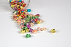 Origami star. Pour a colourful origami stars stock photo
