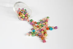 Origami star. Pour a colourful origami stars in a shape of star Stock Image