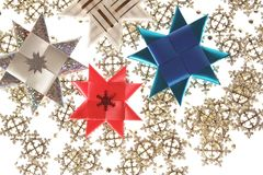 Origami stars postcard on the snowflake garland Royalty Free Stock Photography