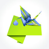 Origami stork delivering boy Stock Photos