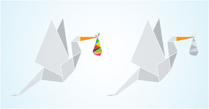 Origami stork. With new born baby Stock Photography