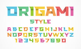 Origami style font. Color alphabet and numbers Royalty Free Stock Image