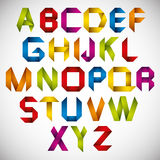 Origami style font with colorful letters. Royalty Free Stock Photos