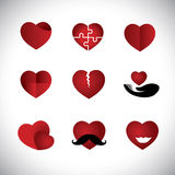 Origami style heart icons collection set - concept vector graphi Stock Photos