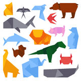 Origami style illustrations of different animals vector. Royalty Free Stock Images