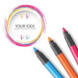 Abstract marker drawing 3d infographics. Origami style marker 3d infographics Royalty Free Stock Photos