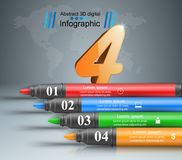 Abstract marker drawing 3d infographics. Origami style marker 3d infographics. Vector eps 10 Royalty Free Stock Images