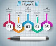 Abstract marker drawing 3d infographics. Origami style marker 3d infographics. Vector eps 10 Stock Image