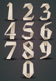 Origami style numbers set, monochrome version, looks best over d Stock Image