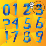 Origami style numbers set, vector. 1 2 3 4 5 6 7 8 9 Royalty Free Stock Photography