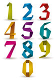 Origami style numbers set. Royalty Free Stock Images