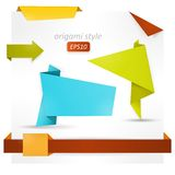 Origami style speech banner, paper shapes Royalty Free Stock Images