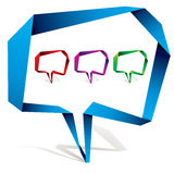 Origami style speech bubbles. Royalty Free Stock Photos