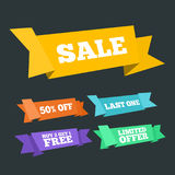 Origami styled sale and promotion ribbons set Stock Image