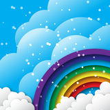 Origami Stylized paper Colorful clouds and rainbow with blue sky. Stock Images