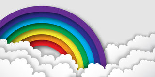 Origami Stylized paper Colorful clouds and rainbow. Royalty Free Stock Photo