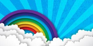 Origami Stylizował papierowe Kolorowe chmury i tęczę z niebieskim niebem ilustracja wektor