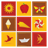 Origami summer symbols. Vector illustration of summer origami symbols Stock Images