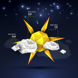 Origami sun and clouds design Stock Images