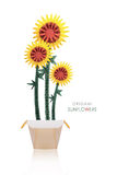 Origami sunflowers in a pot Royalty Free Stock Image