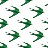 Origami swallow seamless pattern Royalty Free Stock Image
