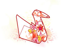 Origami Swan. Paper swan with watercolors. Separated elements Royalty Free Stock Photo