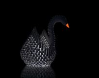 Origami swan. On black background Stock Photography